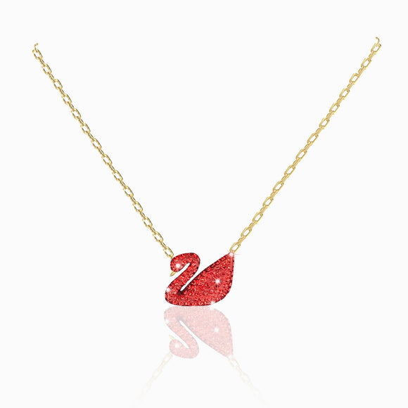 Swarovski iconic swan necklace gold  red crystals 5465400
