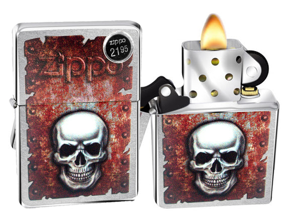 Zippo Lighter 29870 Rusted Skull Design Street Chrome Finish Windproof New