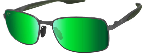 Maui Jim GM797-02F Shoal Brushed Gunmetal Frame Maui Green Polarized Lens