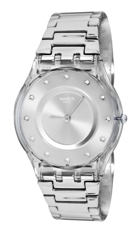 Swatch SFK393G Silver Drawer  SKIN Watch NEW
