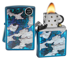 Zippo 29847 Concrete Rust High Polish Blue Finish Windproof Pocket Lighter New