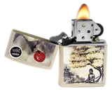 Zippo 29846 Pagoda Bonsai Buddha Creame Matte Finish Windproof Pocket Lighter