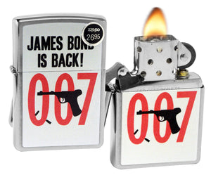 Zippo 29563 007 James Bond is Black Brushed Chrome Finish Windproof Lighter New
