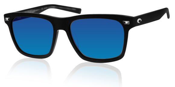 Costa Del Mar Aransas Matte Black Frame Blue Mirror 580G Glass Polarized Lens