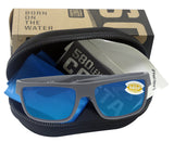 Costa Del Mar Motu Matte Gray Frame Blue Mirror 580P Plastic Polarized Lens