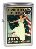 Zippo 29599 US Army Navy Marines American War Fight Brushed Chrome Lighter New