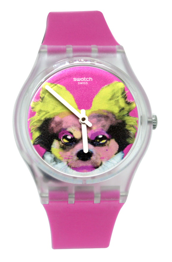 Swatch GE267 Pinkapippa Pink Analog Dial Black Loops Silicone Band Watch New