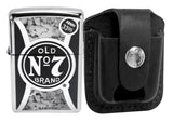 Zippo 29233 Polish Chrome Lighter + LPTBK Black Leather Pouch Clip