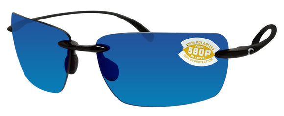 Costa Del Mar Gulf Shore Shiny Black Frame Blue Mirror 580P Plastic Polarized Lens