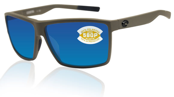 Costa Del Mar Rincon Matte Moss Frame Blue Mirror 580P Plastic Polarized Lens New