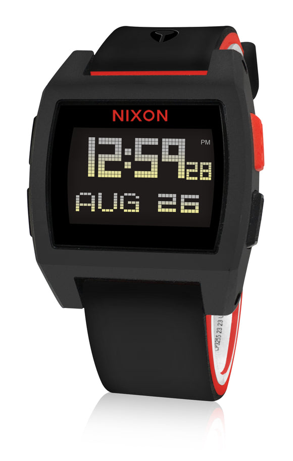 Nixon A1104008 Base Tide Black Red Digital  Watch New in Box