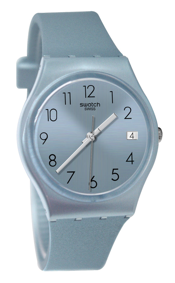 Swatch Originals GL401 Azulbaya Blue Analog Date Dial Rubber Band Watch New