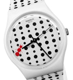 Swatch GW184 Lavorando White Black Red Dial Unisex Watch New