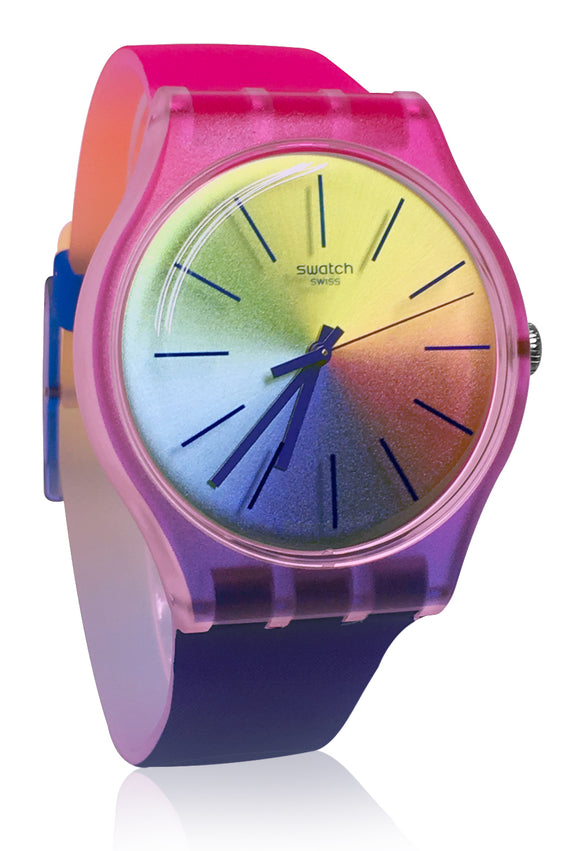 Swatch SUOK143 Multiboost Blue Yellow Dial Rainbow Band Watch New