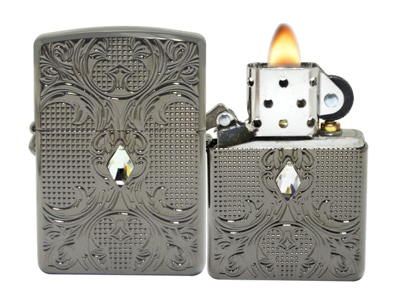 Zippo 28956 Armor Black Ice Crystal Lattice High Polish Windproof Lighter NEW