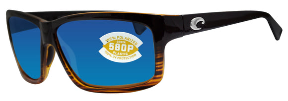 Costa Del Mar Cut Coconut Fade Frame Blue Mirror 580P Plastic Polarized Lens
