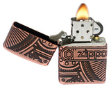 Zippo 29523 Gears Armor Antique Copper Brass Finish 360 Degree Multi Cut Lighter