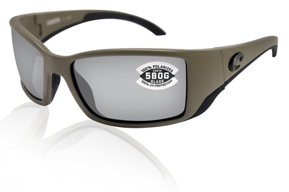 Costa Del Mar Blackfin Moss Frame Gray Silver Mirror 580 Glass Polarized Lens