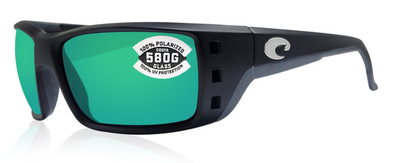 Costa Del Mar Permit Matte Black Frame Green Mirror 580G Glass Polarized Lens