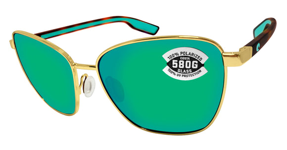 Costa Del Mar Paloma Shiny Gold Frame Green Mirror 580 Glass Polarized Lens