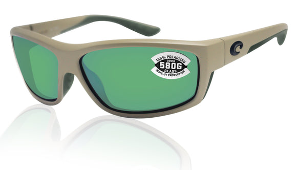 Costa Del Mar Saltbreak Matte Sand Green Mirror 580G Glass Polarized Lens New