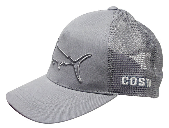 Costa Del Mar Stealth Marlin Hat Gray Cotton Twill Adjustable Snap Back Closure