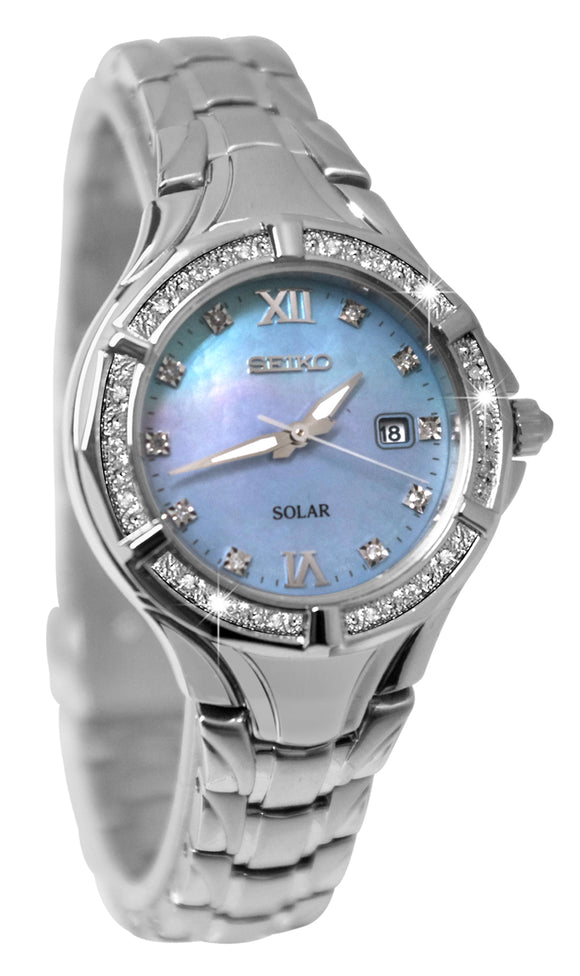 Seiko SUT371 Solar Powered Diamond MOP Dial Stainless Steel Bracelet Watch New