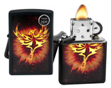 Zippo Lighter 29866 Phoenix Rising From Flames Black Matte Finish Windproof New
