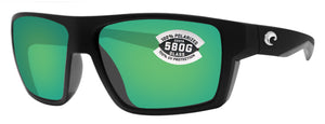 Costa Del Mar Bloke Matte Black Gray Frame Green 580G Polarized Glass Lens