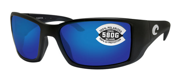 Costa Del Mar Blackfin Matte Black Frame Blue Mirror 580 Glass Polarized Lens - Blue Mirror / Glass 580G
