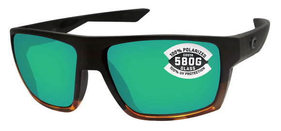 Costa Del Mar Bloke Black Tortoise Frame Green Mirror 580 Glass Polarized Lens