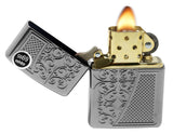 Zippo 29498 Old Royal Filigree Armor Deep Carved Black Ice Finish Lighter New