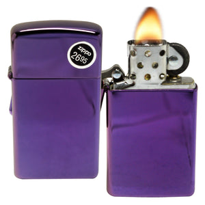 Zippo Lighter 28124 Slim Abyss Purple Shine Scratch Resistant Windproof Lighter