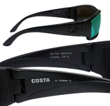 Costa Del Mar Corbina Blackout Frame Green Mirror 580G Glass Polarized Lens