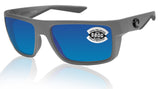 Costa Del Mar Motu Matte Gray Frame Blue Mirror 580G Glass Polarized Lens