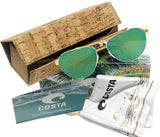 Costa Del Mar Fernandina brushed gold frame green mirror 580 plastic lens
