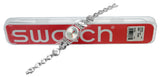 Swatch LK375G L\'Inattendue Grey Red Dial Silver Steel Crystal Bracelet Watch New