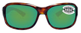 Costa Del Mar Inlet Tortoise Frame Green Mirror 580G Glass Polarized Lens