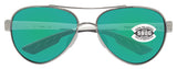 Costa Del Mar Loreto Palladium White Green Mirror 580G Glass Polarized Lens