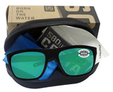 Costa Del Mar Broadbill Matte Black Green Mirror 580 Glass Polarized Lens