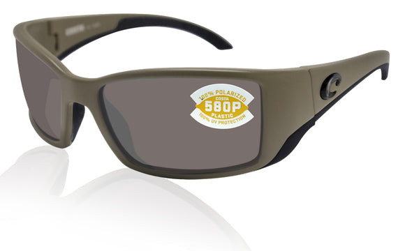 Costa Del Mar Blackfin Matte Moss Frame Gray 580 Plastic Polarized Lens