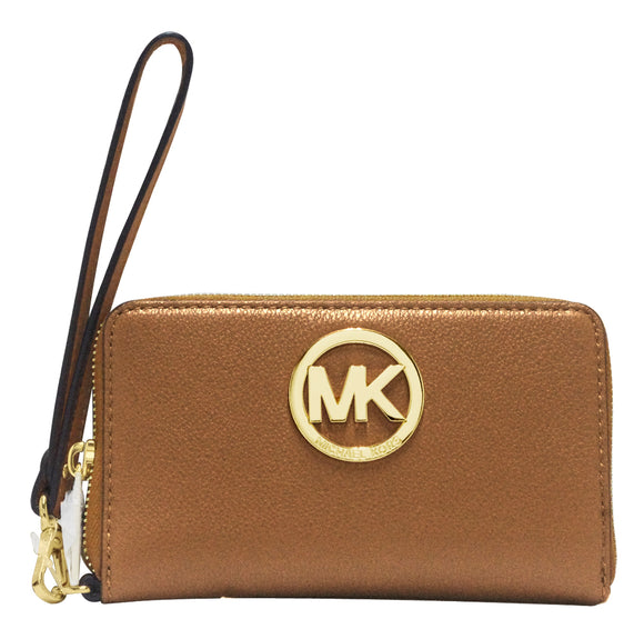 Michael Kors Fulton Luggage / Brown Large Flat Phone Case wallet Leather 32H5GFTE4L NEW
