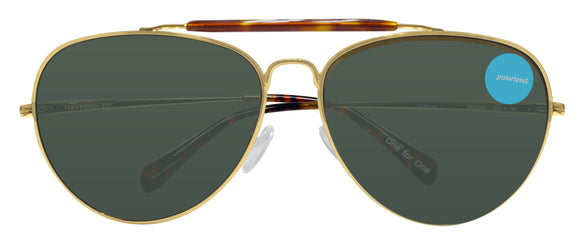 Toms Maverick 301 10005456 Gold Green Grey 52 mm Polarized Lens Sunglasses NEW