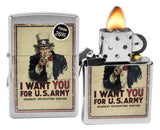 Zippo 29595 Uncle Sam I Want You for US Army Brushed Chrome Finish Lighter New