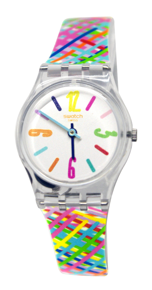 Swatch LK389 Tadelakt White Dial Pink Blue Green Stripes Silicone Band Watch New