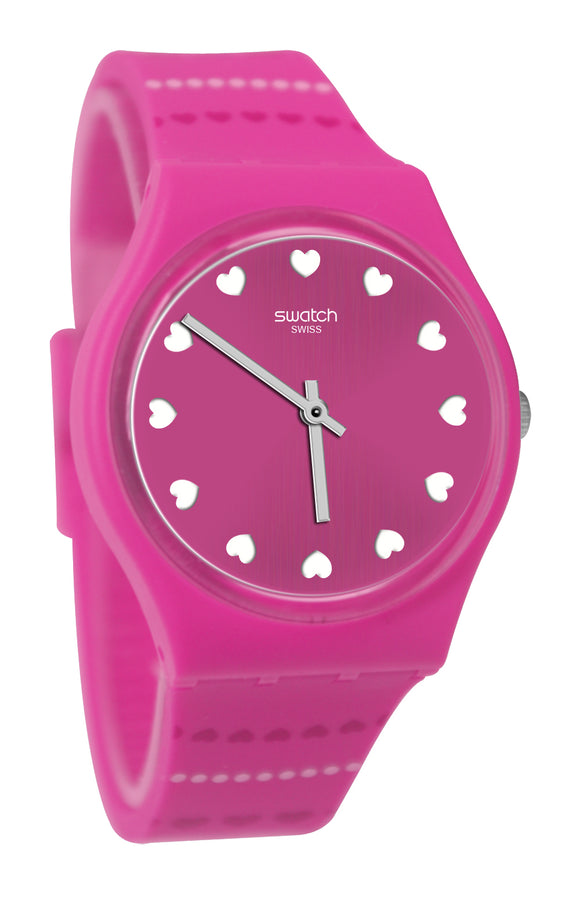 Swatch GP160 Coeur De Manage Pink Hearts Brushed Dial Silicone Band Watch New