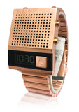 Nixon A1266897 Dork Too Black Rose Gold Bracelet USB Speak Time Digital Watch