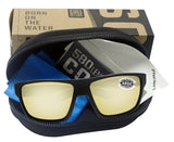 Costa Del Mar Bloke Black Gray Sunrise Silver Mirror 580G Glass Polarized Lens
