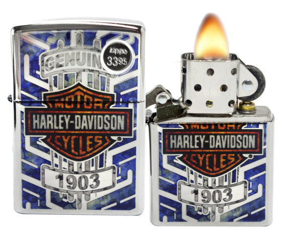 Zippo 29159 Harley Davidson Genuine Motor Cycles High Polish Chrome Lighter New
