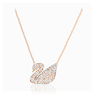 Swarovski swan necklace white rose-gold tone plated 5121597